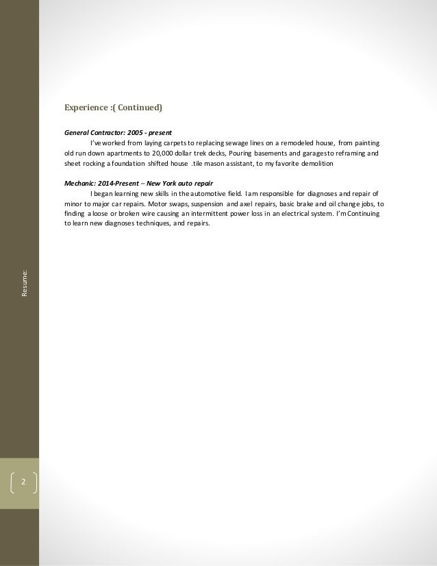 automotive resume auto mechanic resume automotive resume