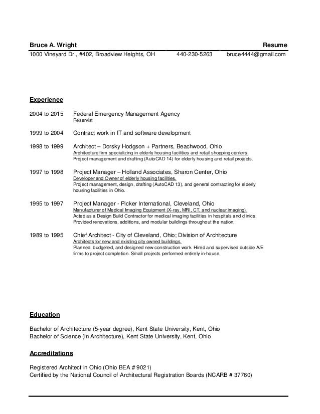 Introduction and Resume - Bruce Wright