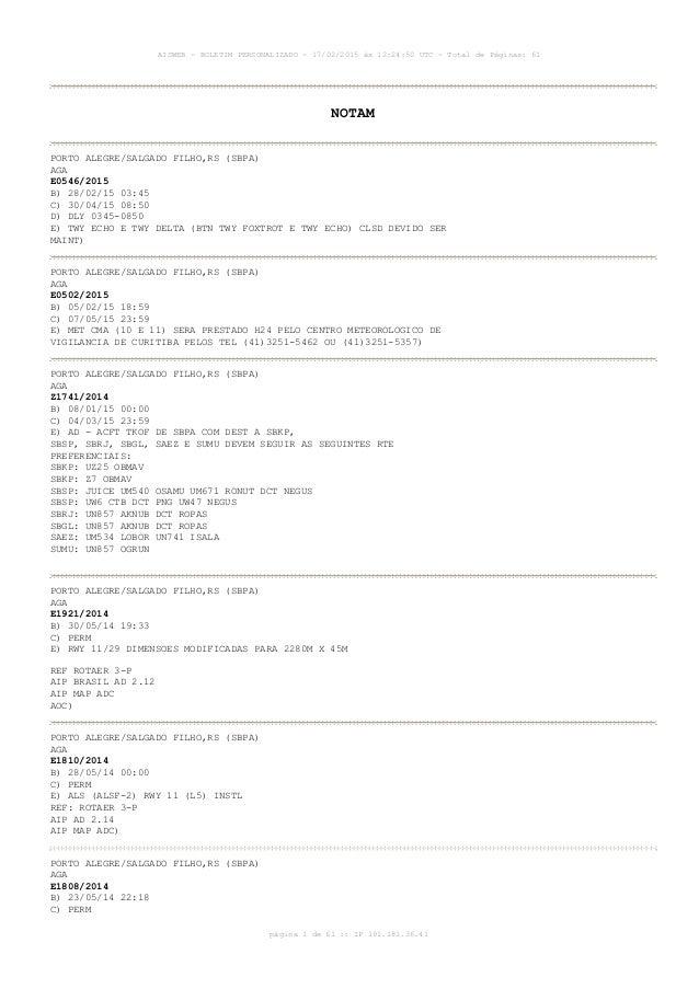 AISWEB - BOLETIM PERSONALIZADO - 17/02/2015 às 12:24:50 UTC - Total de Páginas: 61 página 1 de 61 :: IP 191.181.36.41 NOTA...