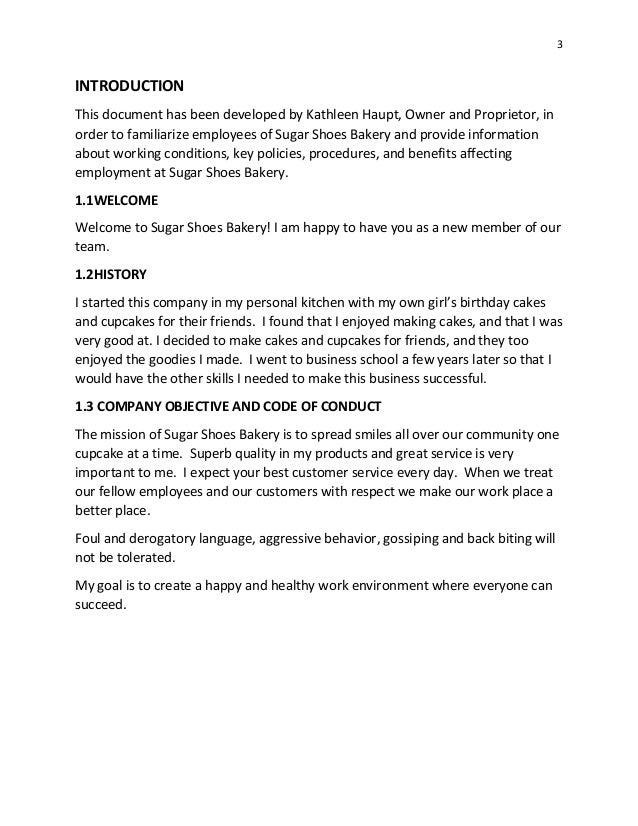 sugar shoes bakery manual 12 2014 rh slideshare net bakery employee handbook bakery employee handbook template