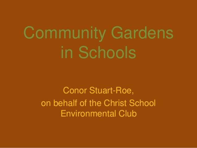 Community Gardens   in Schools       Conor Stuart-Roe,  on behalf of the Christ School      Environmental Club