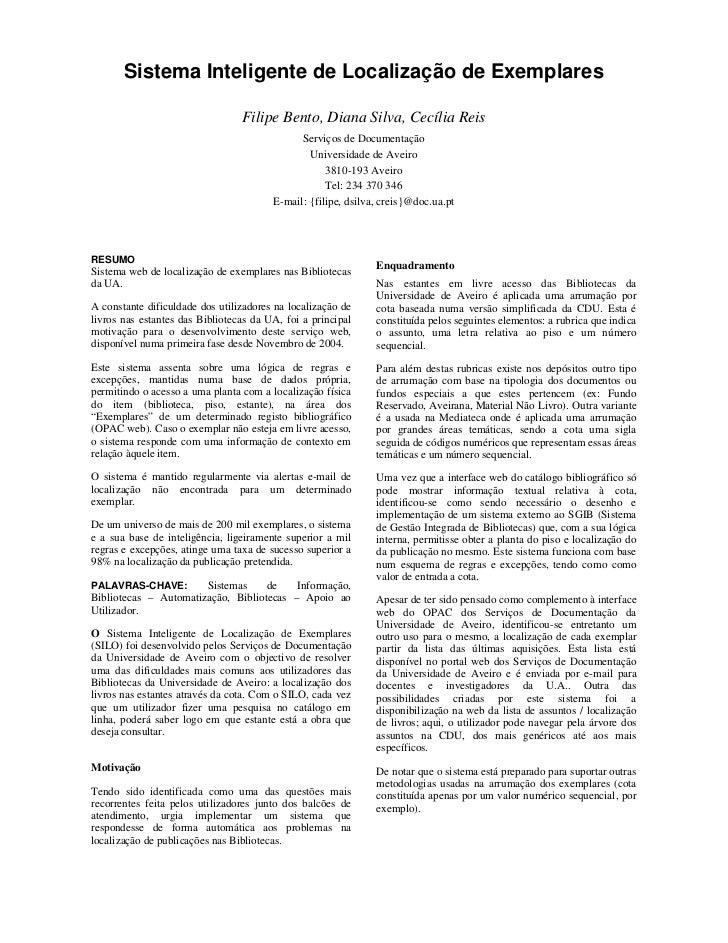 Sistema Inteligente de Localização de Exemplares                                 Filipe Bento, Diana Silva, Cecília Reis  ...