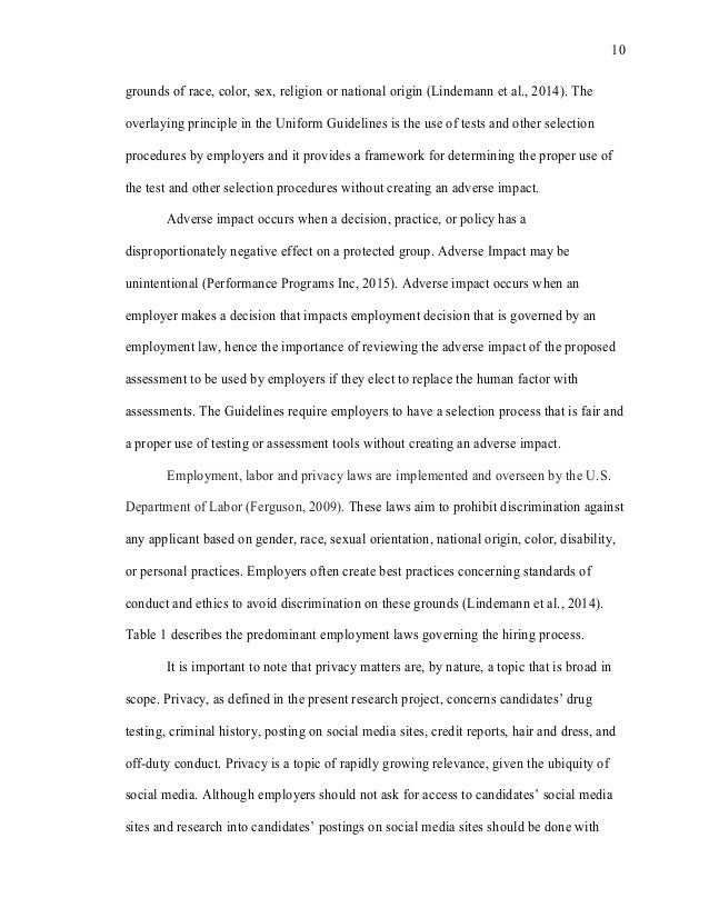 discrimination employment thesis