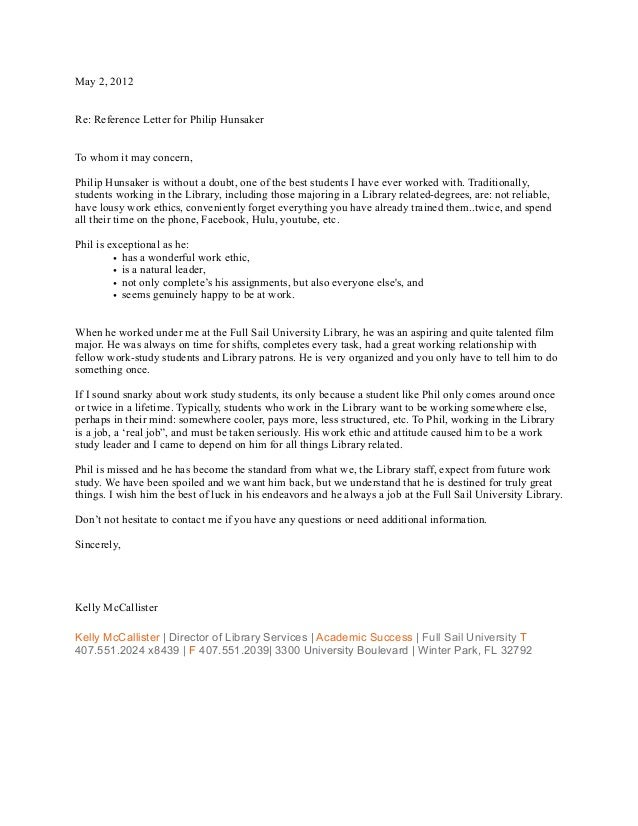 employer recomendation letter