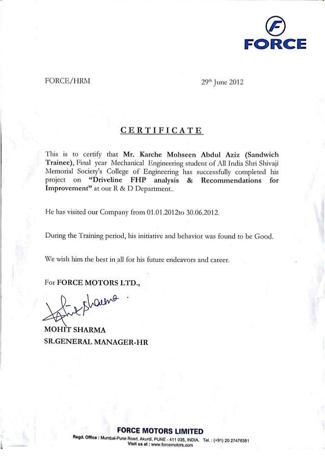Inplant Training Certificate