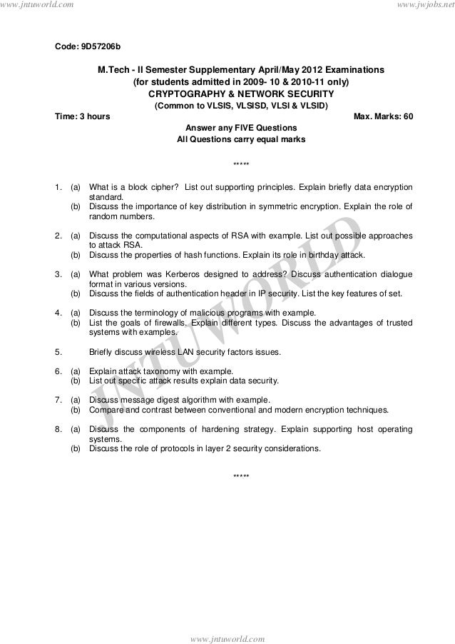 JNTUW ORLD Code: 9D57206b M.Tech - II Semester Supplementary April/May 2012 Examinations (for students admitted in 2009- 1...