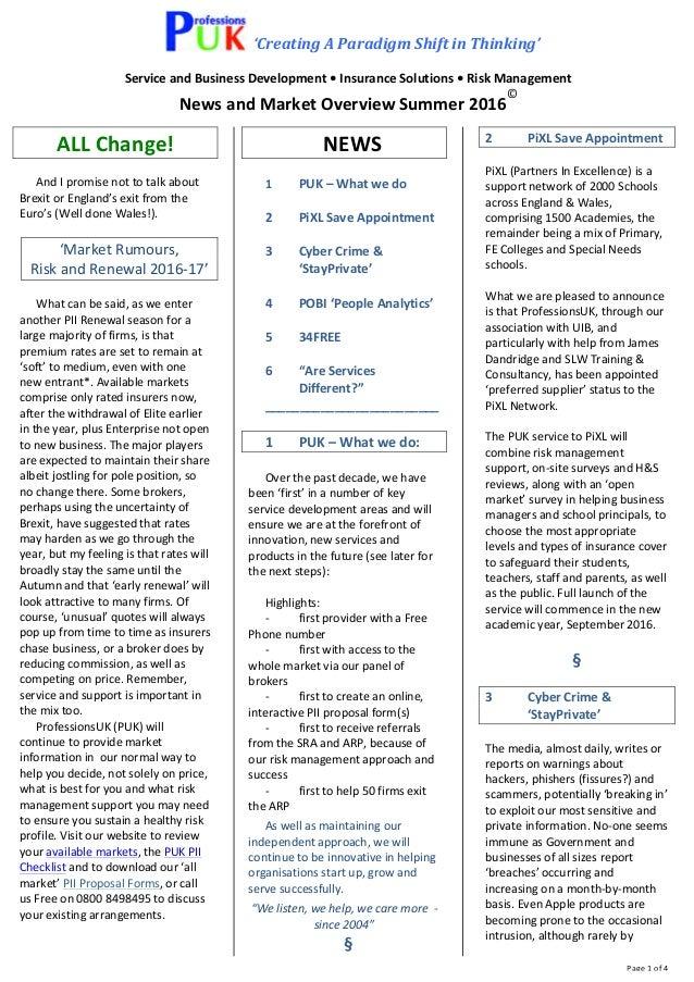 'CreatingAParadigmShiftinThinking' ServiceandBusinessDevelopment•InsuranceSolutions•RiskManagement Newsan...