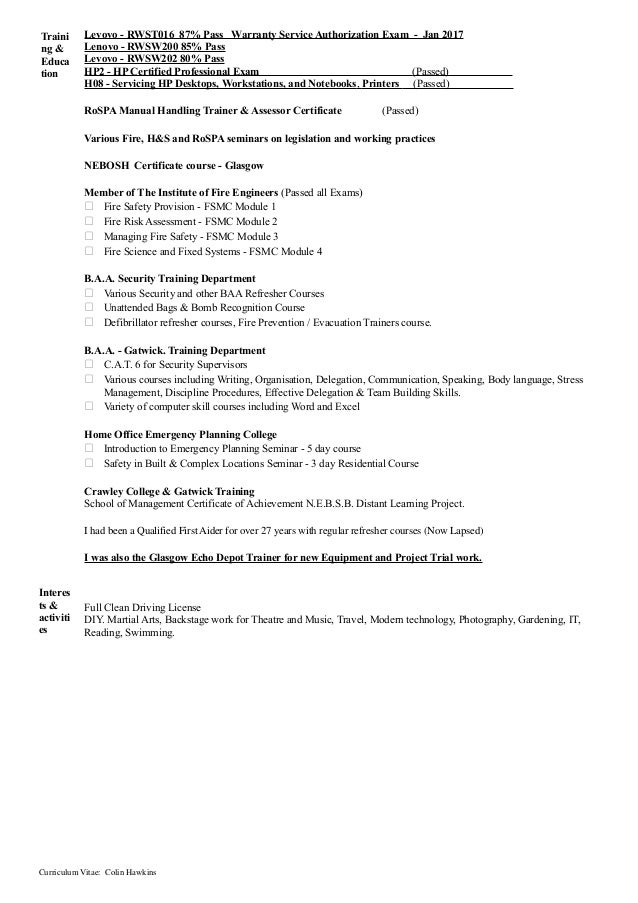 curriculum vitae colin hawkins 3 - Hp Field Service Engineer Sample Resume