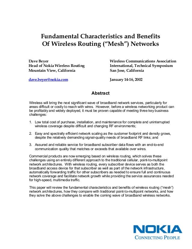 """Fundamental Characteristics and Benefits Of Wireless Routing (""""Mesh"""") Networks Dave Beyer Head of Nokia Wireless Routing M..."""
