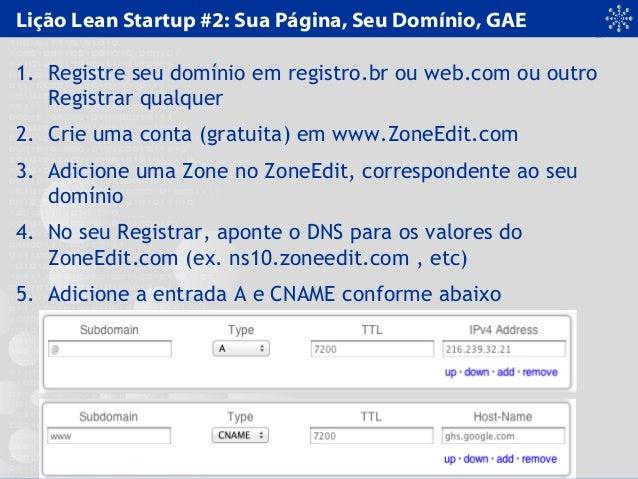 Lição Lean Startup #2: Sua Página, Seu Domínio, GAE 1. Registre seu domínio em registro.br ou web.com ou outro Registrar q...