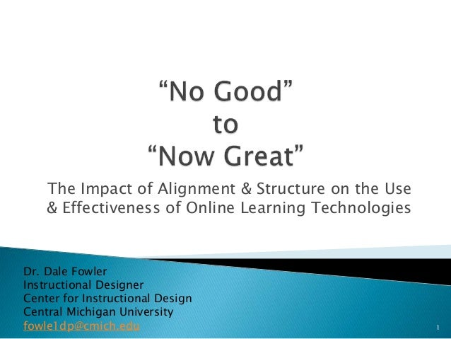 The Impact of Alignment & Structure on the Use & Effectiveness of Online Learning Technologies Dr. Dale Fowler Instruction...