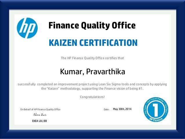 Kaizen Certificate Kumar Pravarthika