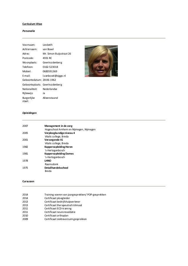 Curriculum Vitae Liesbeth van Boxel (PDF)