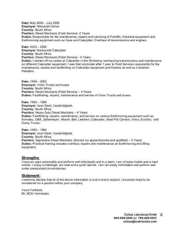 Heavy Equipment Mechanic Apprentice Cover Letter