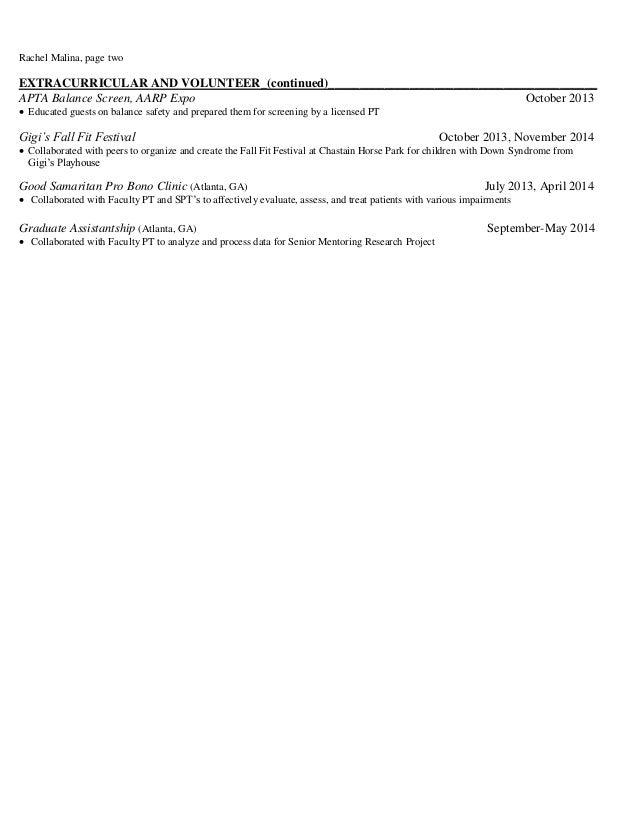 malina clinical affiliation resume