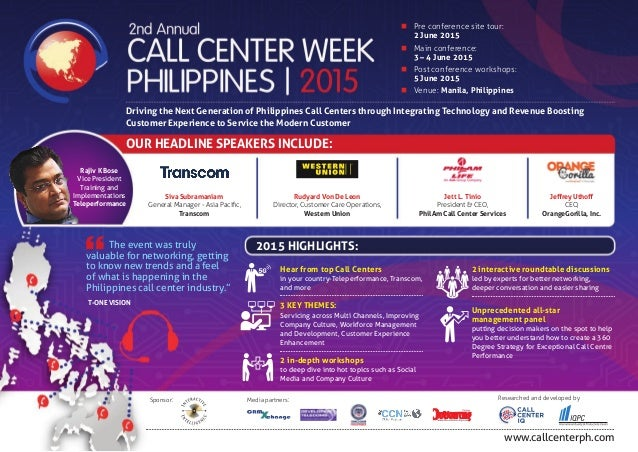 www.callcenterph.com Sponsor: Media partners: Researched and developed by n Pre conference site tour:  2 June 2015 n Ma...