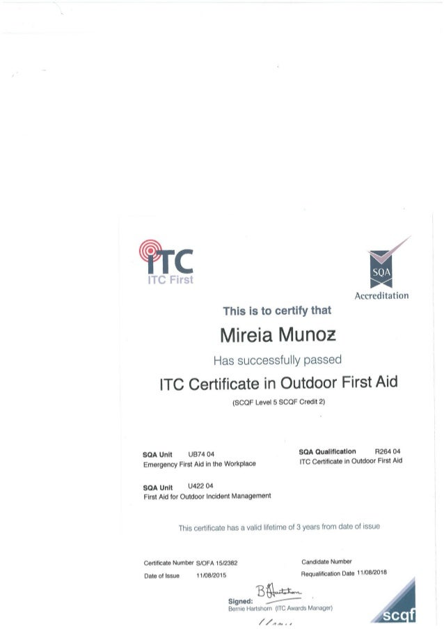 Outdoor First Aid Certificate Mireia