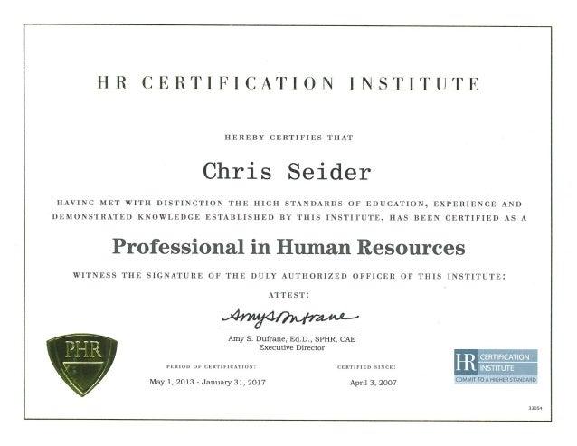 Seider Phr Certification