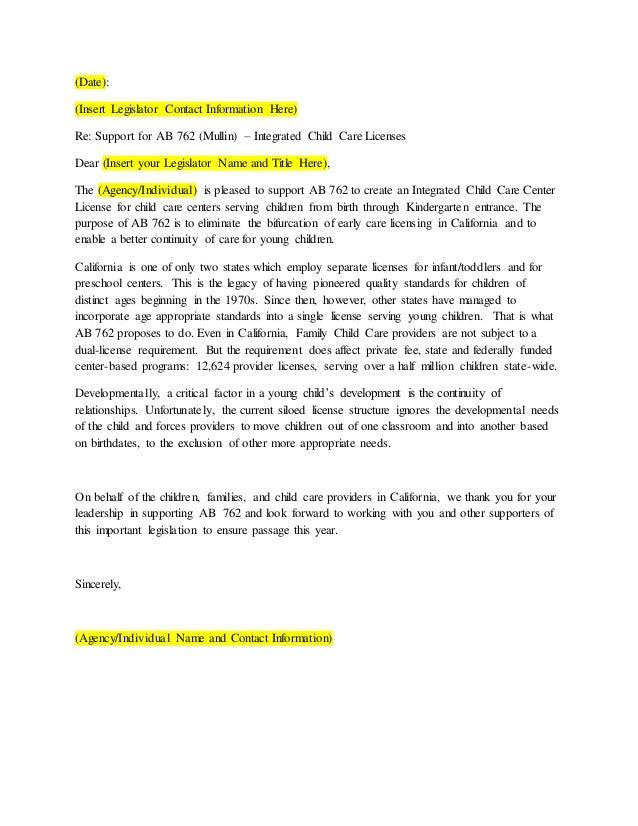 sample letter for child support