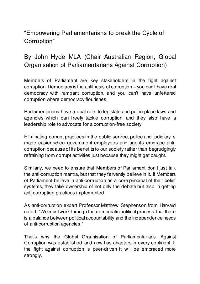 """Empowering Parliamentarians to break the Cycle of Corruption"" By John Hyde MLA (Chair Australian Region, Global Organisat..."