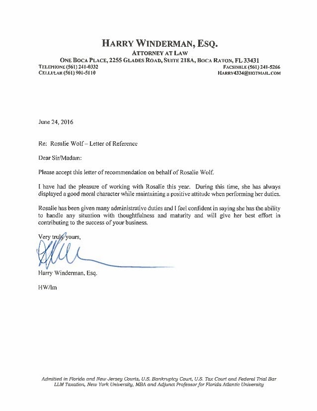 letter of recommendation fro harry winderman of counsel