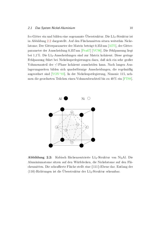 2.1 Das System Nickel-Aluminium 10 fcc-Gitter ein und bilden eine sogenannte ¨Uberstruktur. Die L12-Struktur ist in Abbild...
