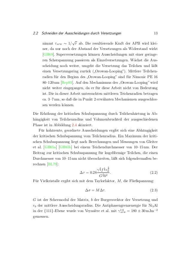2.2 Schneiden der Ausscheidungen durch Versetzungen 13 nimmt τAP B ∼ 1/ √ r ab. Die resultierende Kraft der APB wird klei-...