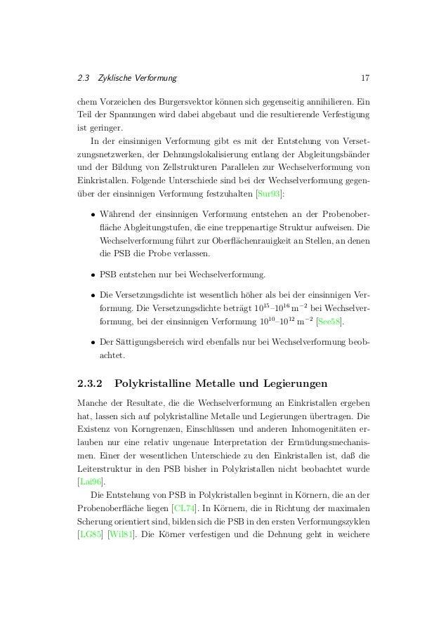 2.3 Zyklische Verformung 17 chem Vorzeichen des Burgersvektor k¨onnen sich gegenseitig annihilieren. Ein Teil der Spannung...