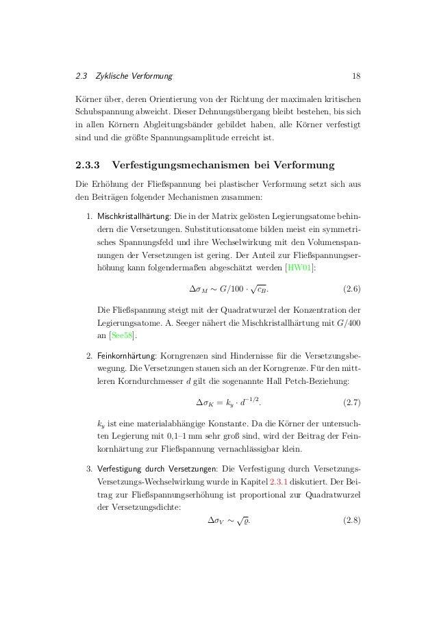 2.3 Zyklische Verformung 18 K¨orner ¨uber, deren Orientierung von der Richtung der maximalen kritischen Schubspannung abwe...