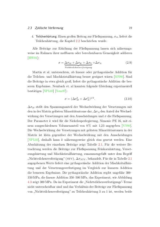 2.3 Zyklische Verformung 19 4. Teilchenh¨artung: Einen großen Beitrag zur Fließspannung, σA, liefert die Teilchenh¨artung,...