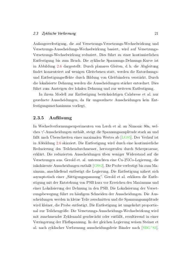 2.3 Zyklische Verformung 21 Anfangsverfestigung, die auf Versetzungs-Versetzungs-Wechselwirkung und Versetzungs-Ausscheidu...