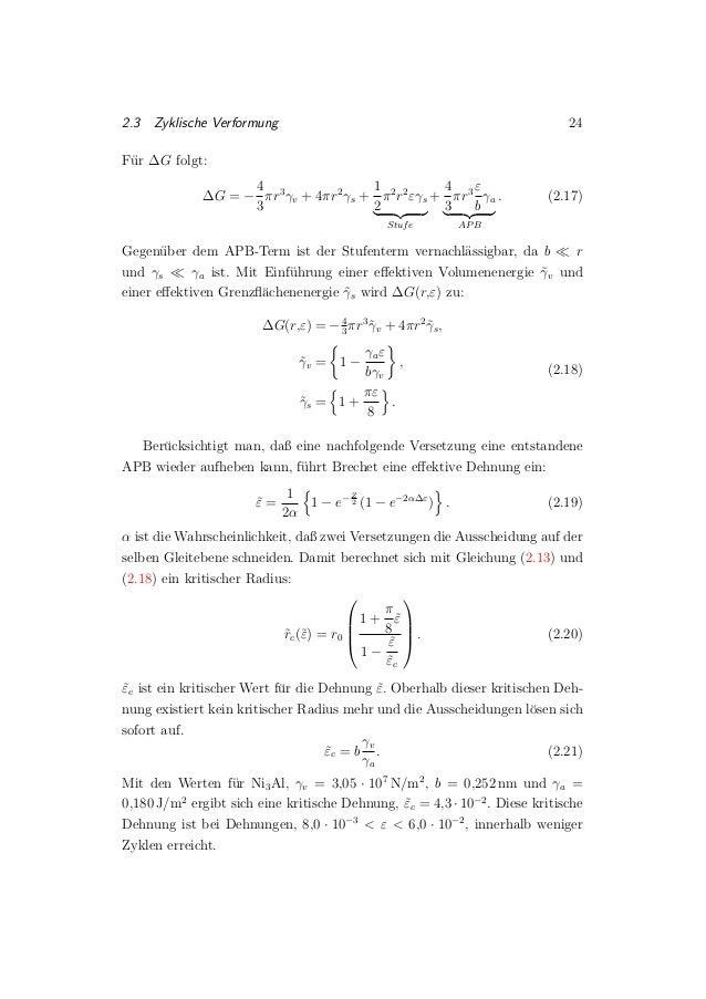 2.3 Zyklische Verformung 24 F¨ur ∆G folgt: ∆G = − 4 3 πr3 γv + 4πr2 γs + 1 2 π2 r2 εγs Stufe + 4 3 πr3 ε b γa APB . (2.17)...