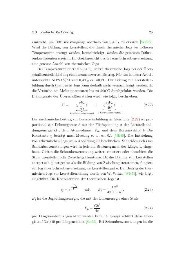 2.3 Zyklische Verformung 26 ausreicht, um Diffusionsvorg¨ange oberhalb von 0,4 TS zu erk¨aren [Wit73]. Wird die Bildung von...