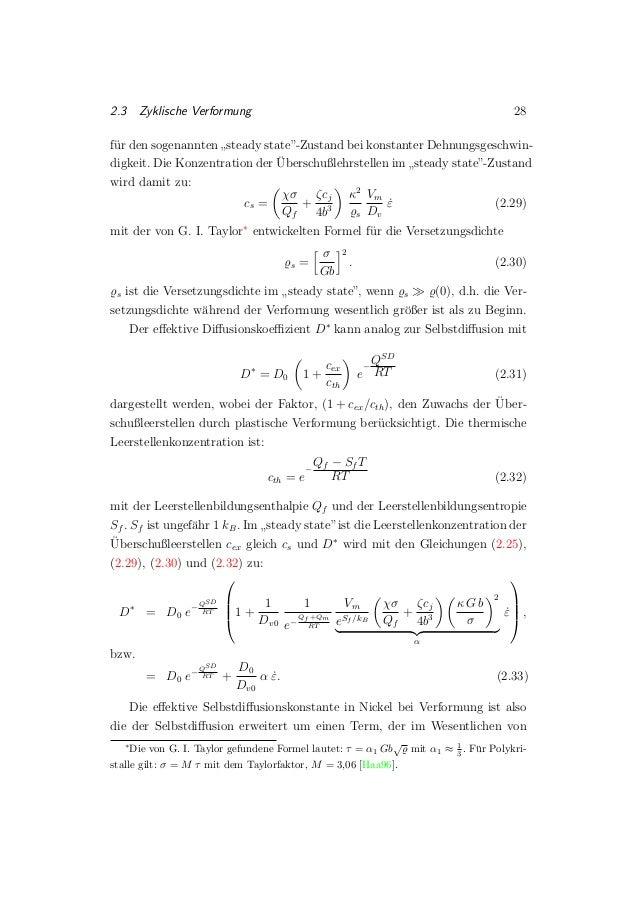 """2.3 Zyklische Verformung 28 f¨ur den sogenannten """" steady state""""-Zustand bei konstanter Dehnungsgeschwin- digkeit. Die Kon..."""
