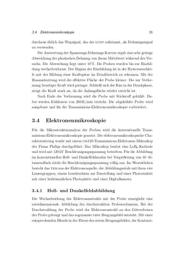 3.4 Elektronenmikroskopie 38 durchaus ¨ublich das Wegsignal, das der lvdt aufnimmt, als Dehnungssignal zu verwenden. Die A...
