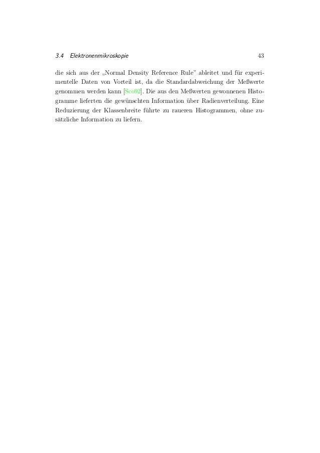 """3.4 Elektronenmikroskopie 43 die sich aus der """" Normal Density Reference Rule"""" ableitet und f¨ur experi- mentelle Daten vo..."""