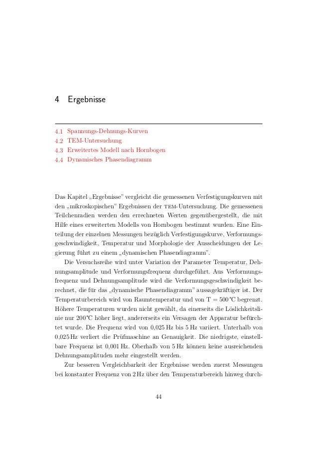 4 Ergebnisse 4.1 Spannungs-Dehnungs-Kurven 4.2 TEM-Untersuchung 4.3 Erweitertes Modell nach Hornbogen 4.4 Dynamisches Phas...