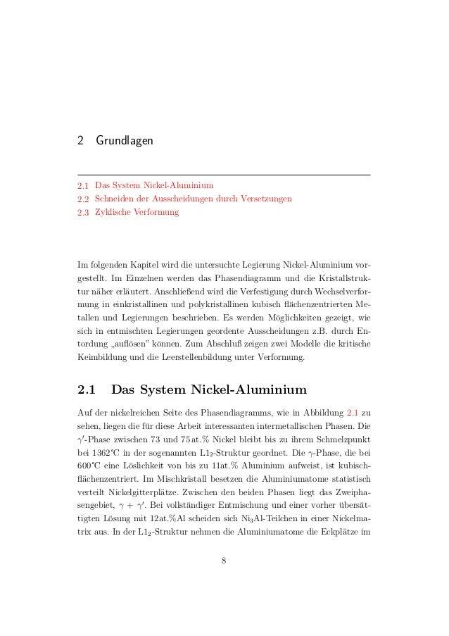 2 Grundlagen 2.1 Das System Nickel-Aluminium 2.2 Schneiden der Ausscheidungen durch Versetzungen 2.3 Zyklische Verformung ...