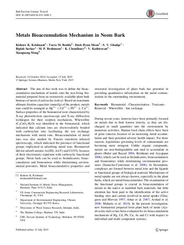 Metals Bioaccumulation Mechanism in Neem Bark Kishore K. Krishnani1 • Veera M. Boddu2 • Deok Hyun Moon3 • S. V. Ghadge1 • ...