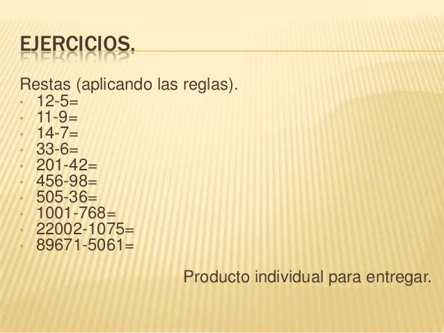 EJERCICIOS.Restas (aplicando las reglas).• 12-5=• 11-9=• 14-7=• 33-6=• 201-42=• 456-98=• 505-36=• 1001-768=• 22002-1075=• ...