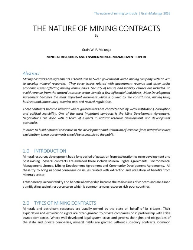 The Nature Of Mining Contracts