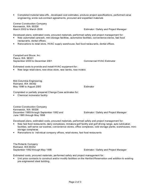 tah resume 02 20 2015 - Hvac Estimator