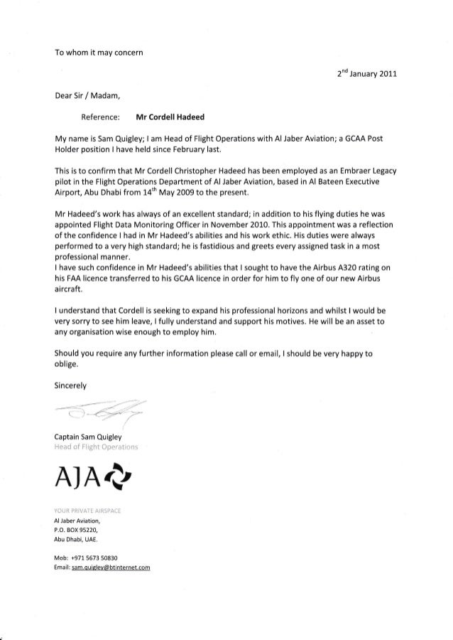 Pilot Letter Of Recommendation Sample Image collections   letter