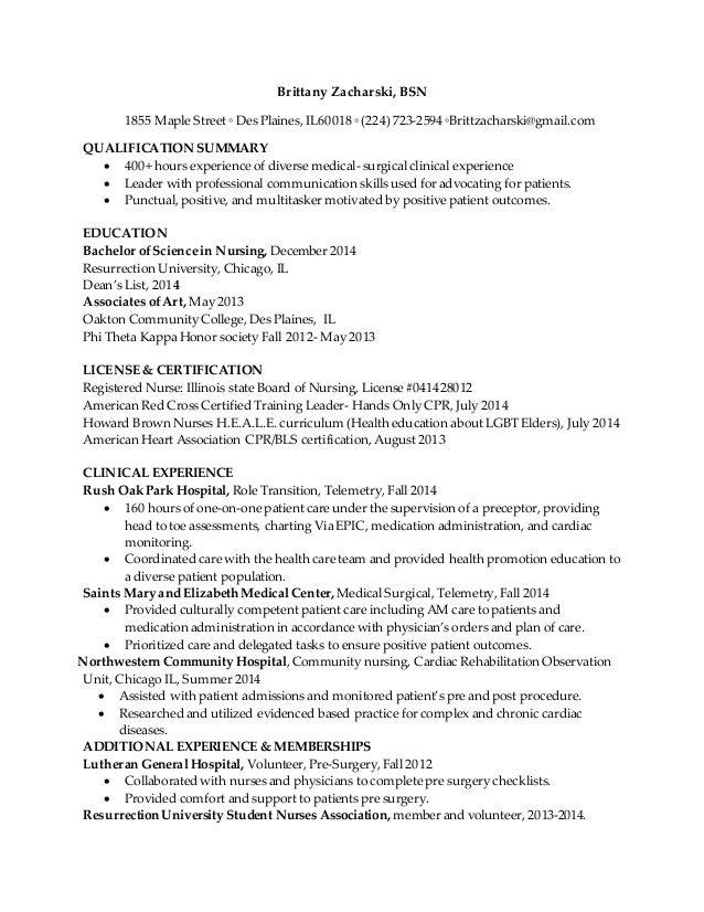Resume For Brittany Zacharski
