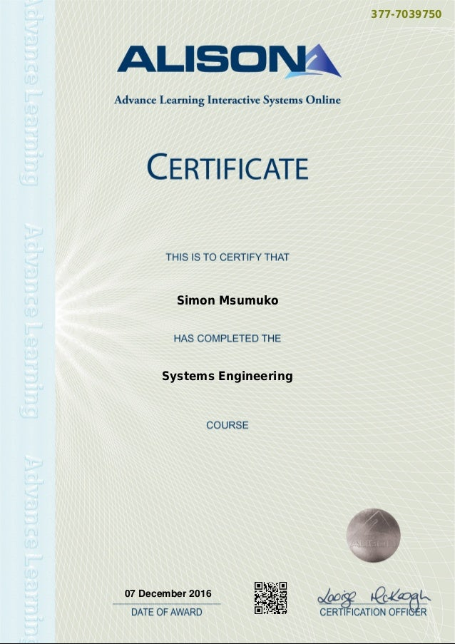 Certificate In Systems Engineering