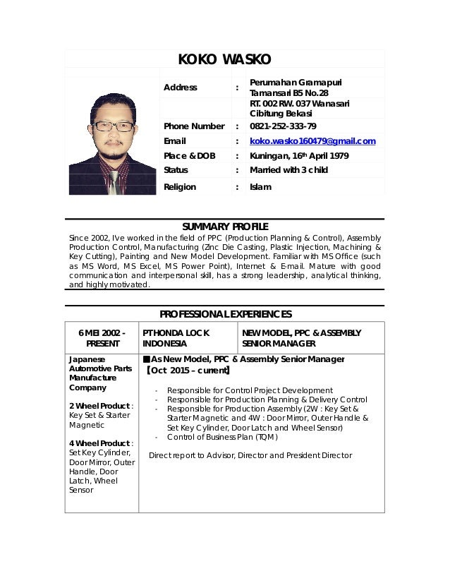 KOKO WASKO Address : Perumahan Gramapuri Tamansari B5 No.28 RT. 002 RW. 037 Wanasari Cibitung Bekasi Phone Number : 0821-2...