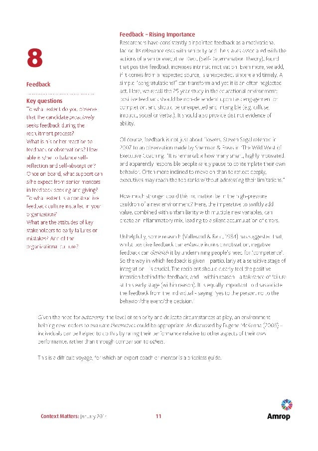 Context Matters: 11 8 Feedback Key questions Feedback – Rising Importance
