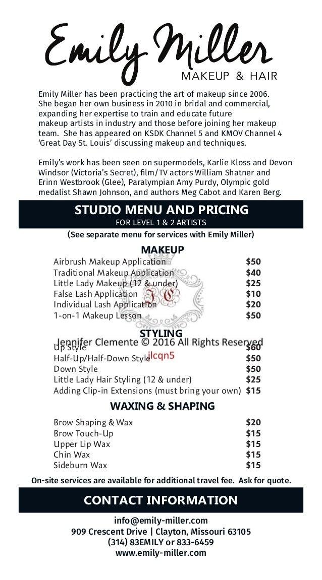Sample Menu and Pricing Cards
