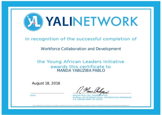 Workforce Collaboration and Development MANDA YABUZIBA PABLO August 18, 2016