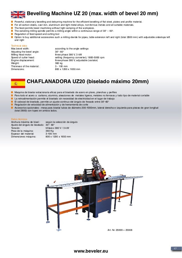 Art. Nr. 25999 + 25908 Bevelling Machine UZ 20 (max. width of bevel 20 mm) CHAFLANADORA UZ20 (biselado máximo 20mm) Powerf...